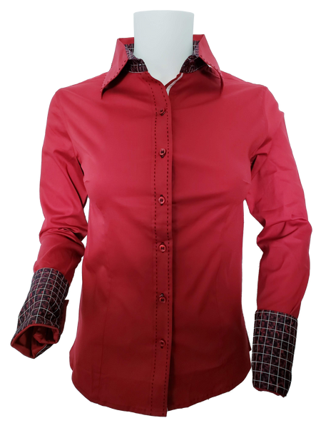 WOMENS CONTRAST CUFF & COLLAR BUCKSTITCH SHOW SHIRT (BRICK RED)