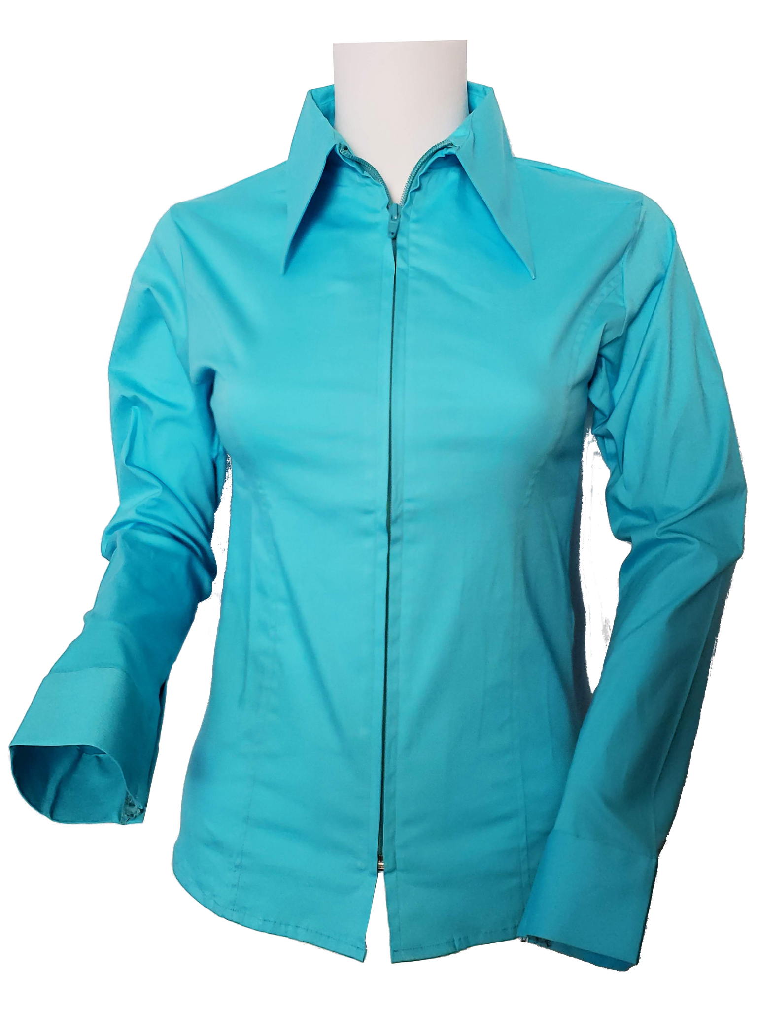 Ladies Solid Color Zip Up Show Shirt (Turquoise)