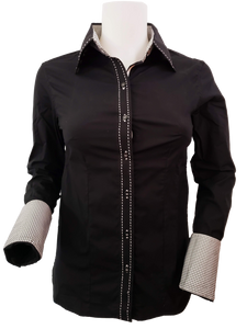 WOMENS CONTRAST CUFF & COLLAR BUCKSTITCH SHOW SHIRT (BLACK)