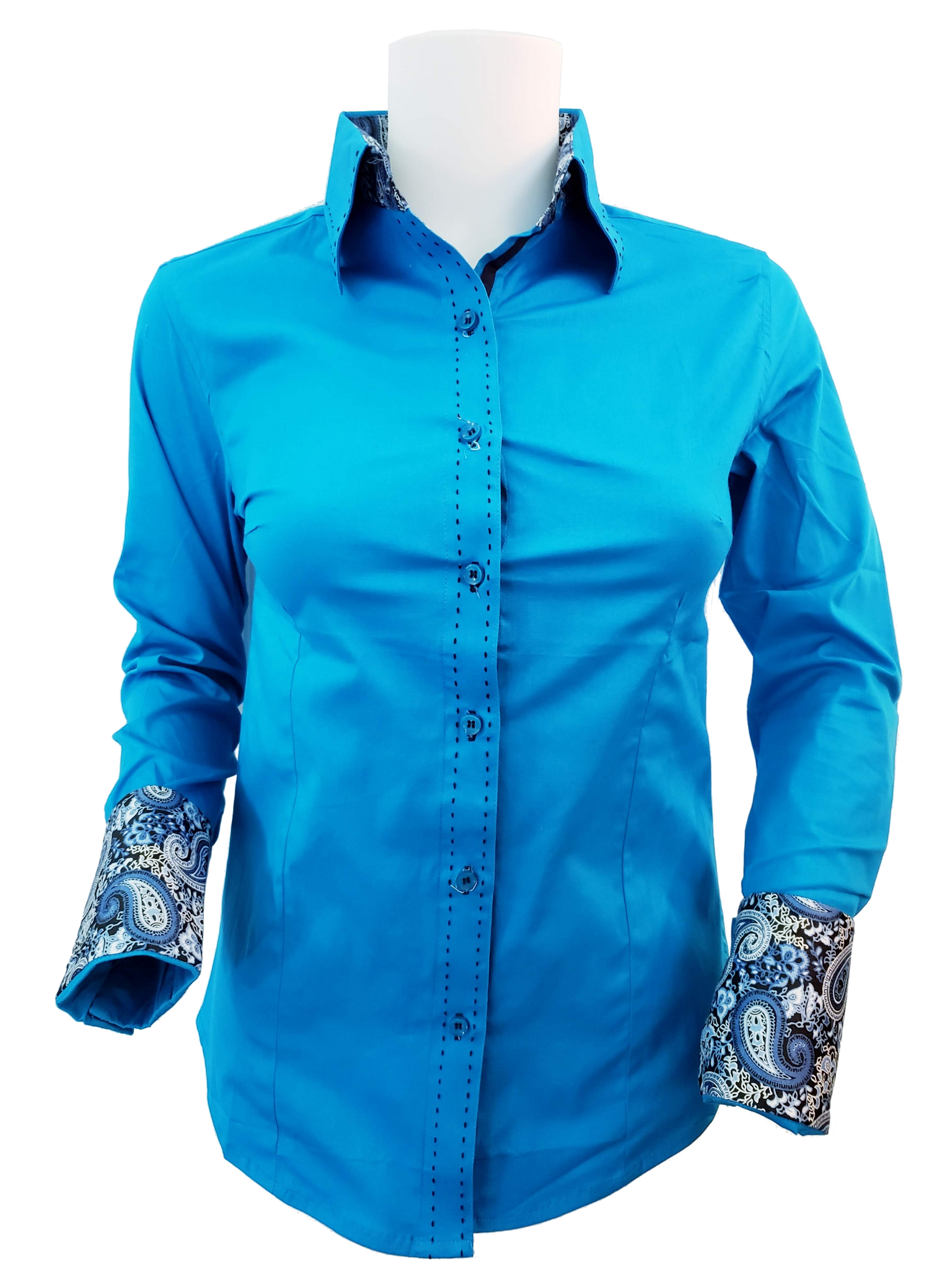 WOMENS CONTRAST CUFF & COLLAR BUCKSTITCH SHOW SHIRT (TURQUOISE)