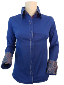 WOMENS CONTRAST CUFF & COLLAR BUCKSTITCH SHOW SHIRT (ROYAL BLUE)