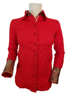 WOMENS CONTRAST CUFF & COLLAR BUCKSTITCH SHOW SHIRT (BRIGHT RED)