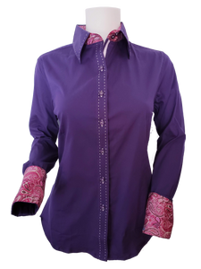 WOMENS CONTRAST CUFF & COLLAR BUCKSTITCH SHOW SHIRT (PURPLE)