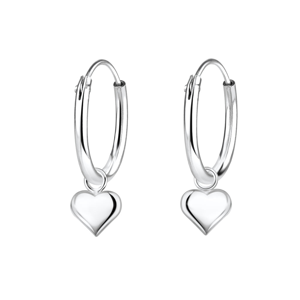 Children's Sterling Silver Heart Charm Hoop Earrings