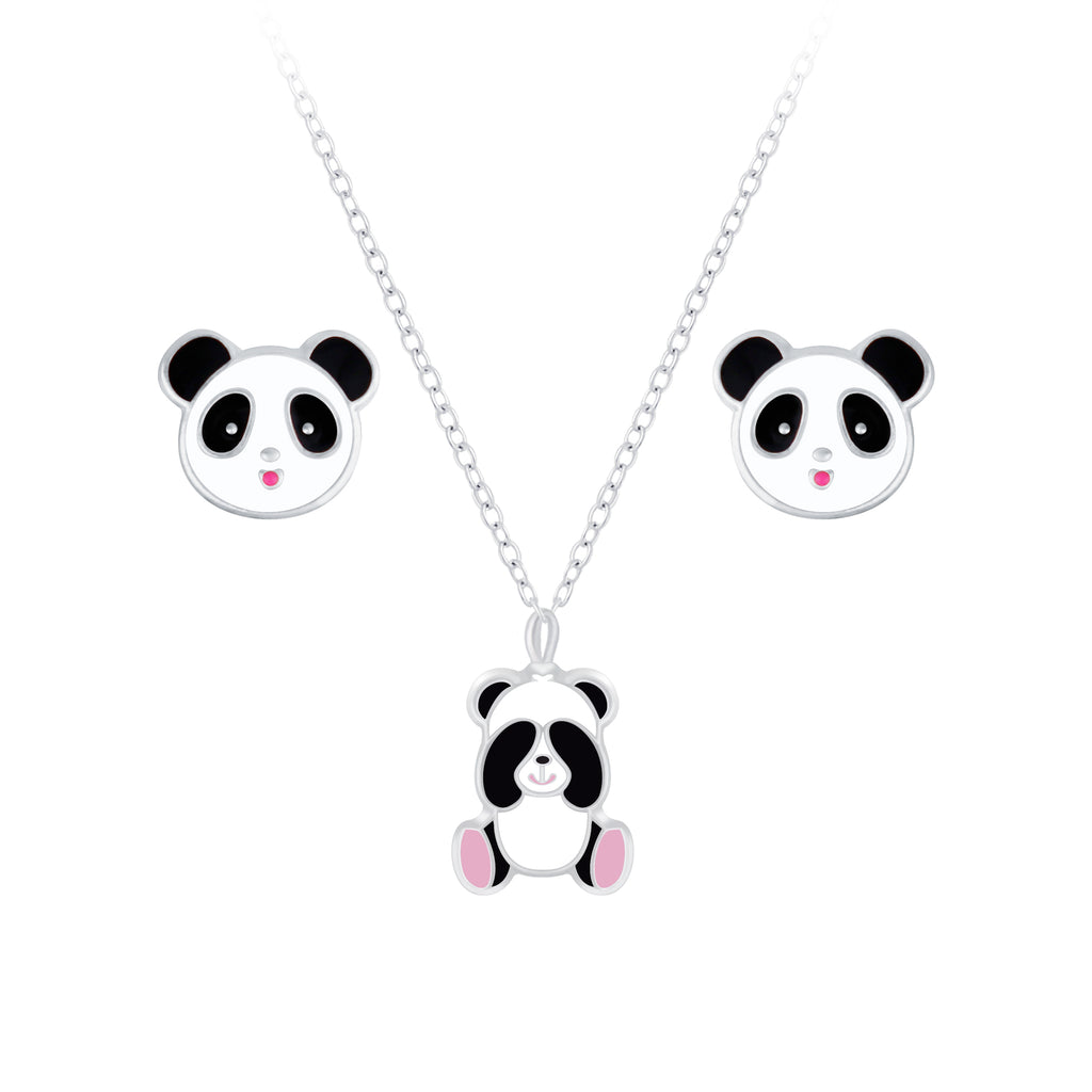 Children's Sterling Silver Panda Bear Necklace & Stud Earrings Set
