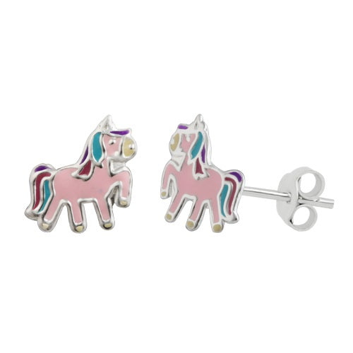 Sterling Silver Childrens Pink Unicorn Stud Earrings