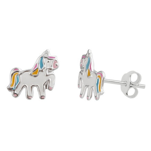 Sterling Silver Girls Pink, Blue & White Unicorn Stud Earrings