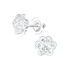 Sterling Silver Dog Paw Screwback Earrings