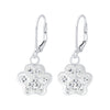 Sterling Silver Paw Print Lever Back Earrings