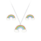 Sterling Silver Girls Rainbow Necklace & Stud Earrings Set