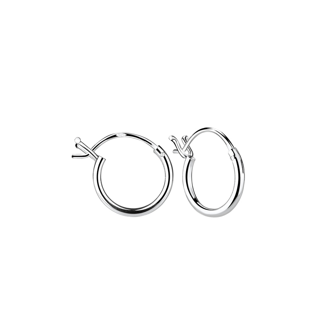 Sterling Silver 10mm French Lock Hoop Earrings