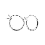 Sterling Silver 14mm French Lock Hoop Earrings