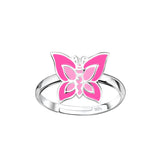Sterling Silver Adjustable Butterfly Bear Ring