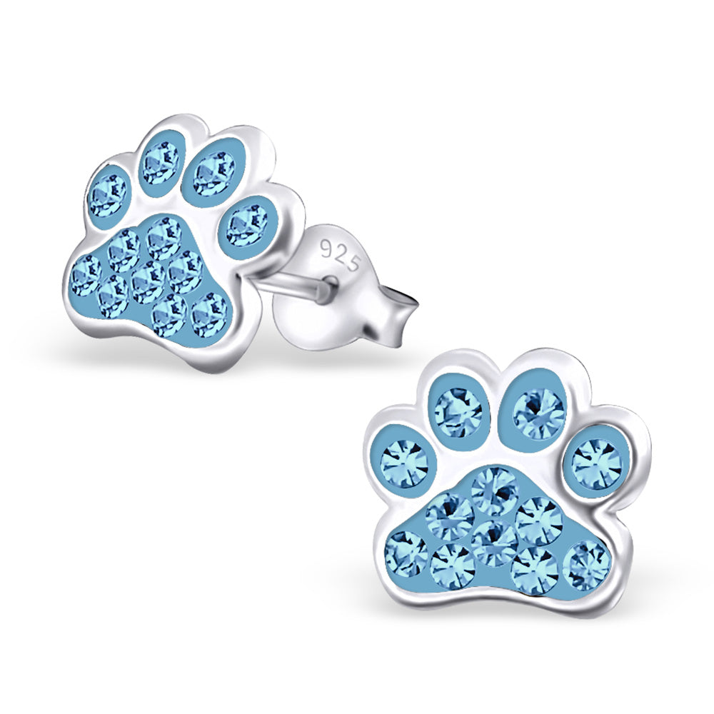dog paw earrings on by white etsy elizabethjewelryinc gold diamond stud pin
