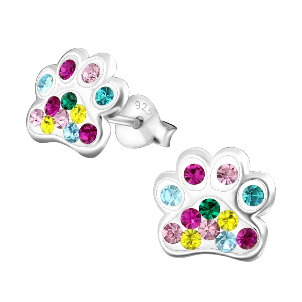 animal for shiny bear from earring earrings dog in pink rose small jewelry female gold cz paw item piercing women stud