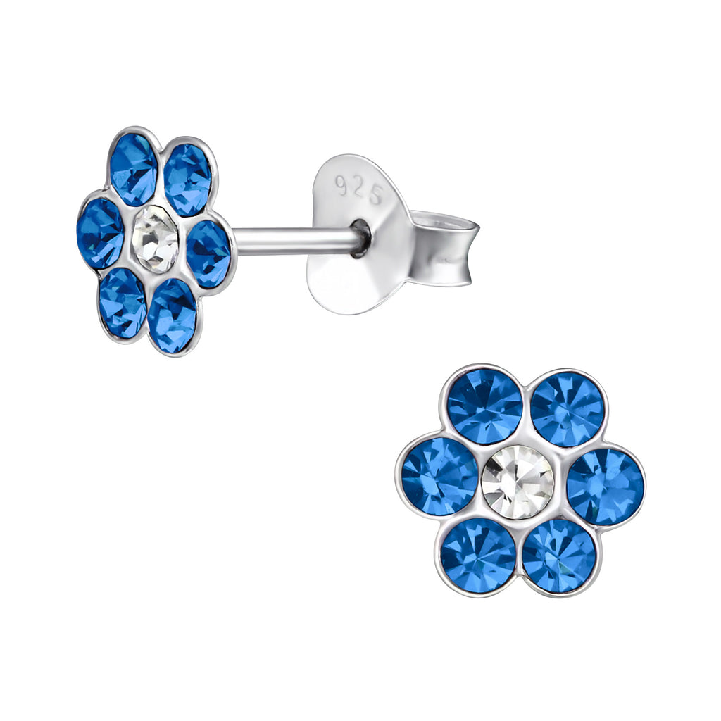Children's Sapphire Blue Crystal Flower Real Sterling Silver Stud Earrings
