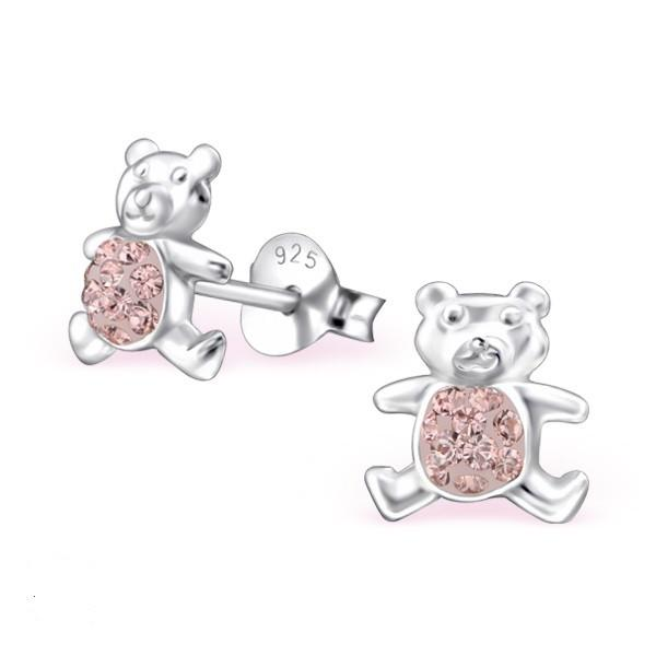 Children's Real Sterling Silver Teddy Bear Ear Studs With Crystals from Swarovski® -