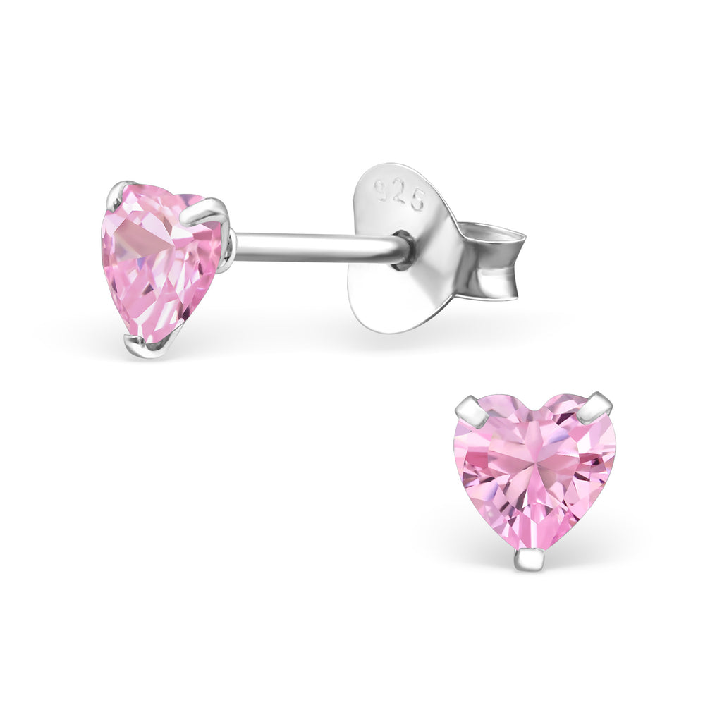 Children's Sterling Silver Heart Ear Studs With Gemstones