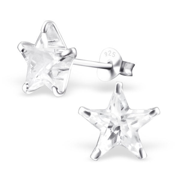 Star Real Sterling Silver Earrings With Clear Cubic Zirconia Stones -