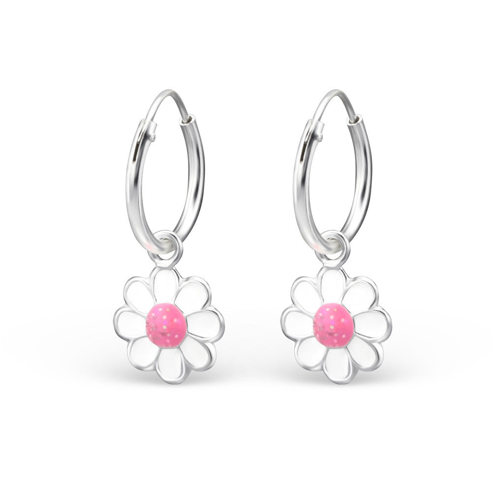 d94441b2f Children's Real Sterling Silver Hoop Earrings With Pink & White Daisy Flower  - Spoilurself ...