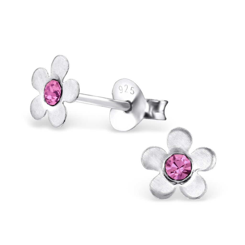 Childrens Sterling Silver Flower Stud Earrings