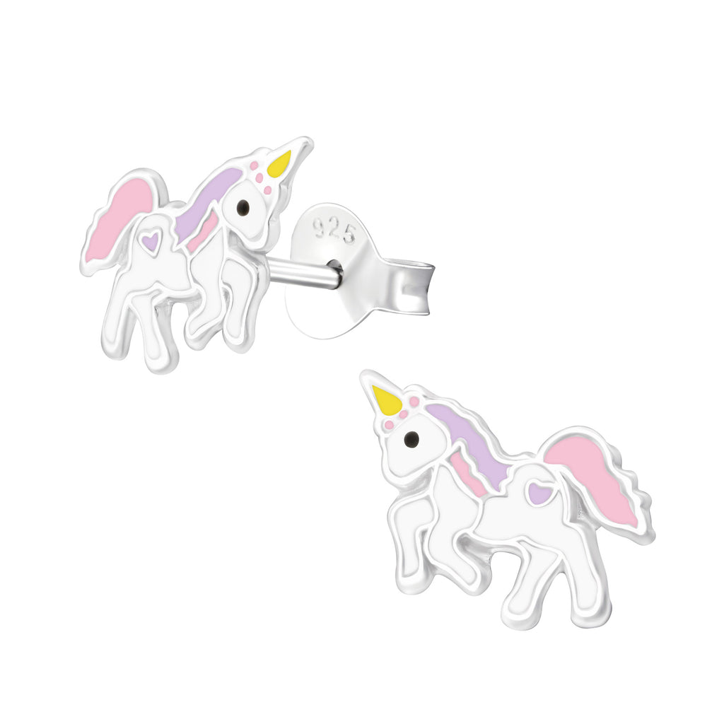 Sterling Silver Childrens Unicorn Stud Earrings