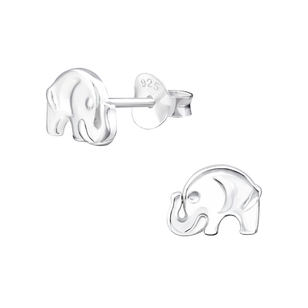 Small Elephant Real Sterling Silver Stud Earrings