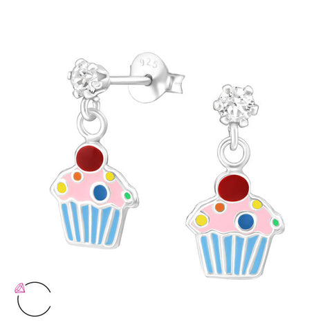 Children's Sterling Silver Ballerina Ear Studs With Crystals from Swarovski®