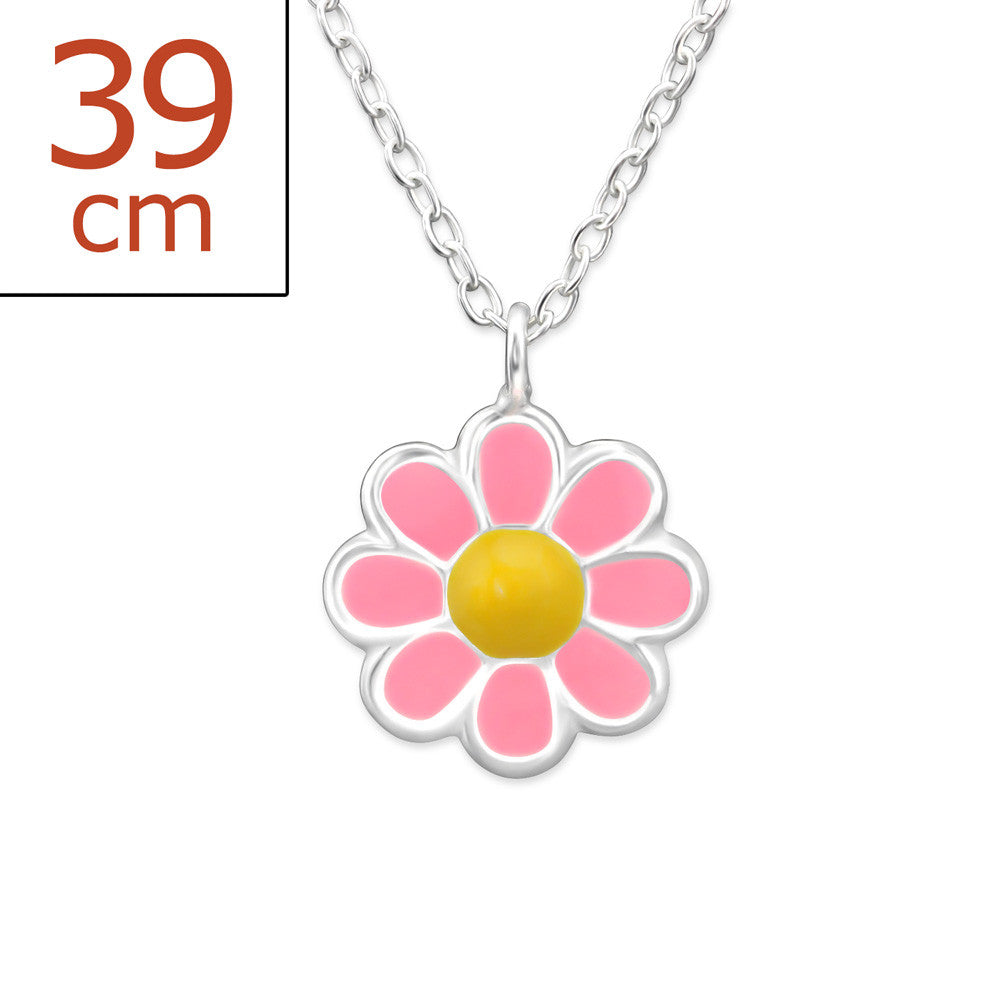 Children's Pink Daisy Flower Real Sterling Silver Necklace