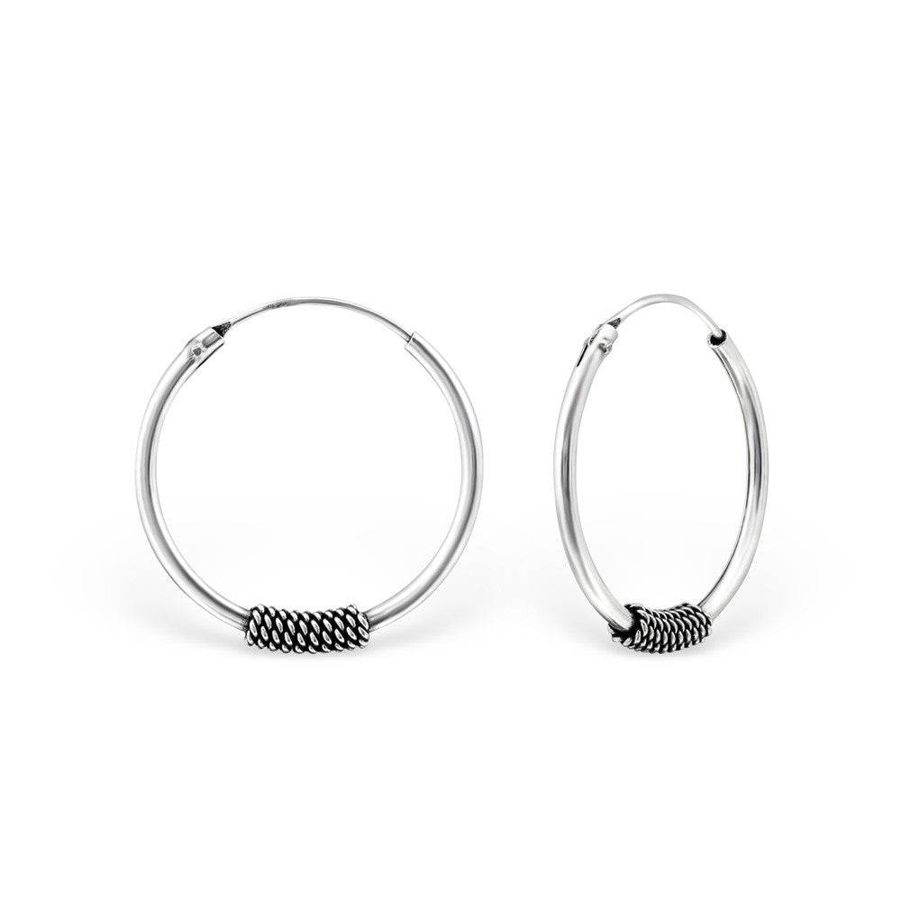 Real Sterling Silver Bali Hoop Earrings - Spoilurself