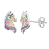Sterling Silver Girls Multi Coloured Unicorn Stud Earrings