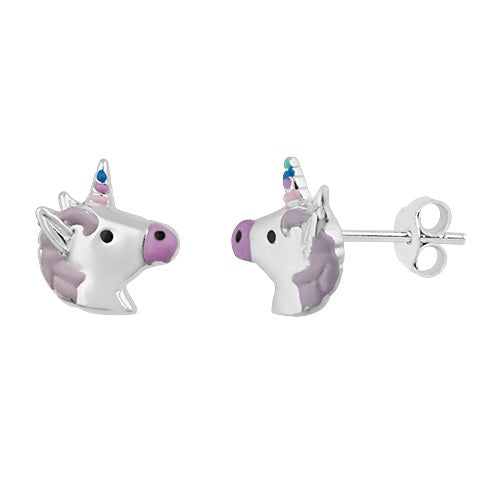 Sterling Silver Girls Violet & White Unicorn Stud Earrings