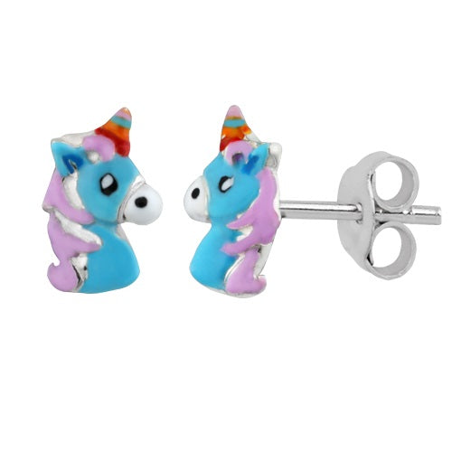 Sterling Silver Girls Blue Unicorn Stud Earrings