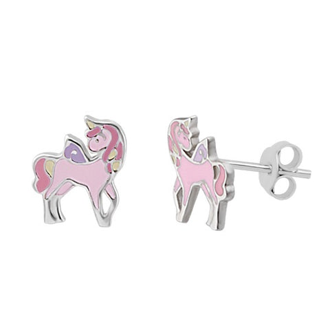 Sterling Silver Colourful Glitter Rainbow Screw Back Earrings