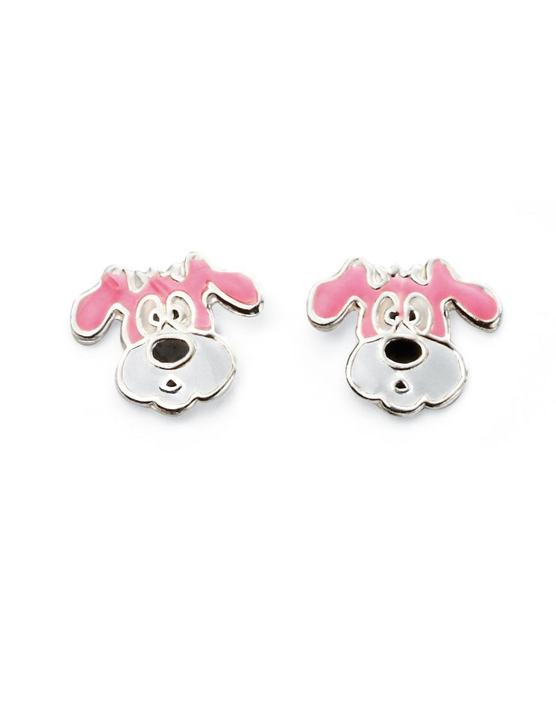 Sterling Silver Girls Dog Head Enamel Studs