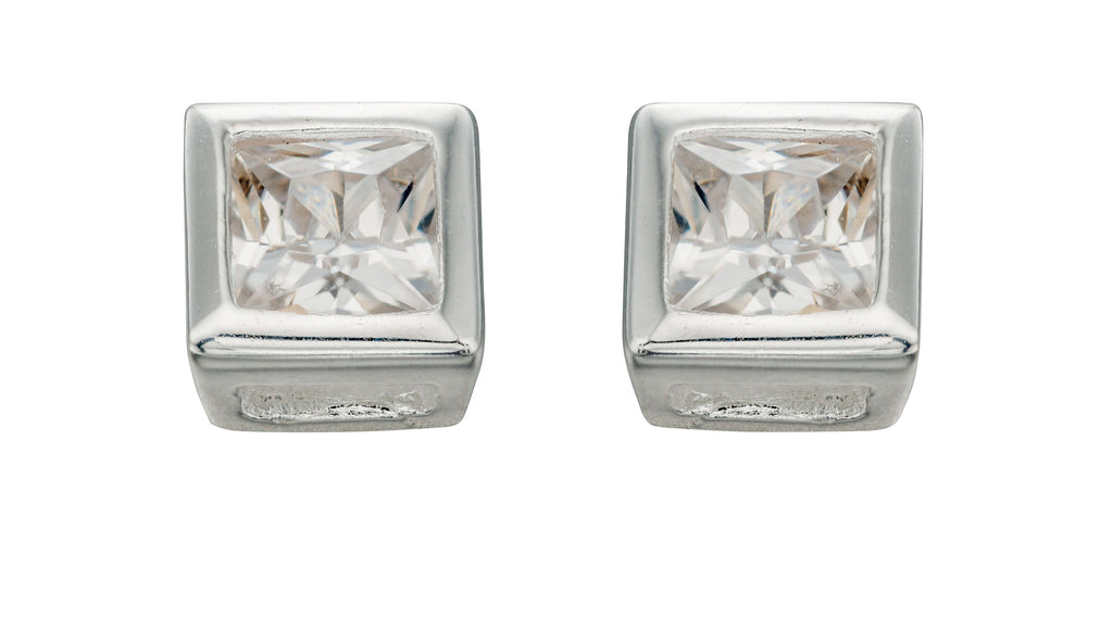 Melchior Jewellery Womans Sterling Silver Clear CZ 4.5Mm Square Stud Earrings