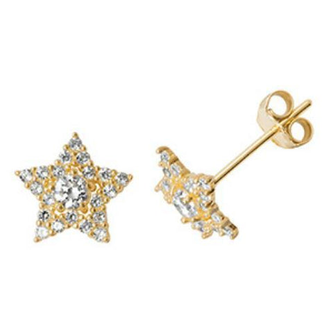 2eb8fe8fc 9ct Gold Star Earrings With Clear Cubic Zirconia Gemstones. £49.95. 9ct  Yellow Gold White Opal Round Stud earrings