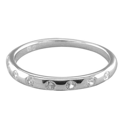 925 Sterling Silver Cubic zirconia Wedding Band Ring