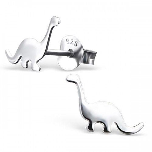 Diplodocus Dinosaur Real Sterling Silver Stud Earrings