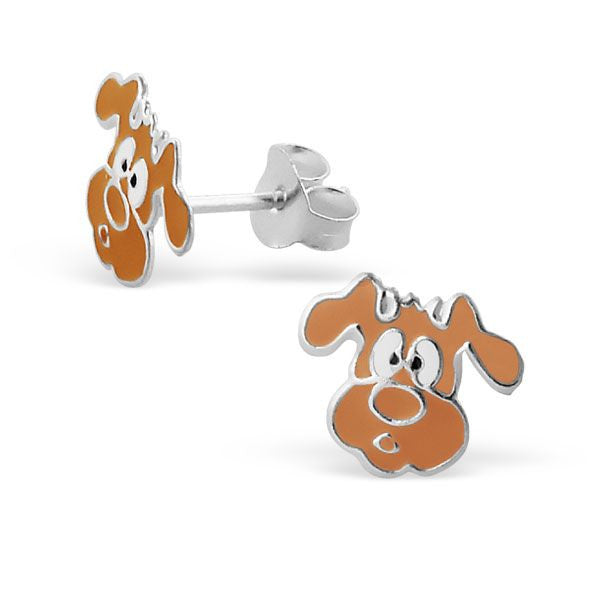 Childrens Brown Dog Real Sterling Silver Stud Earrings -
