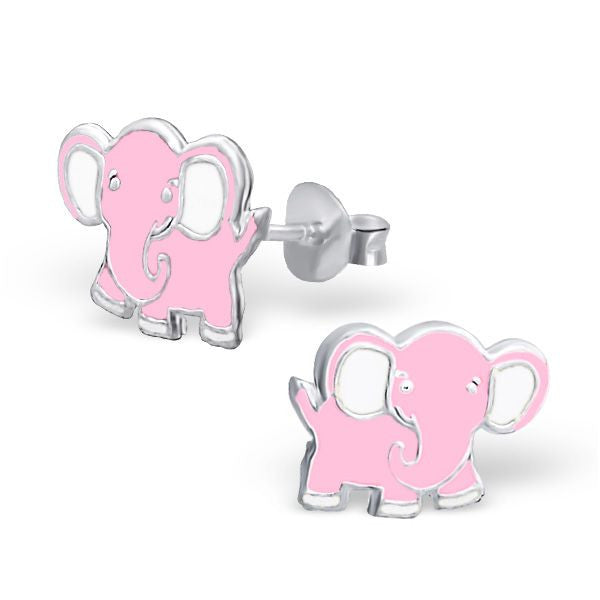 Childrens Pink Elephant Real Sterling Silver Stud Earrings -