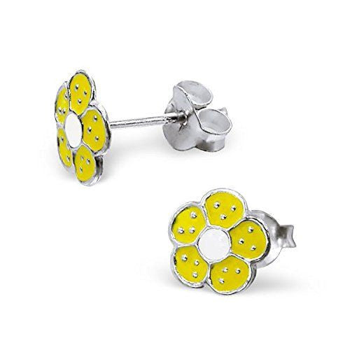 Children's Yellow Flower Real Sterling Silver Stud Stud Earrings -