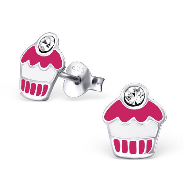 Children's Pink Cupcake Real Sterling Silver Stud Earrings -