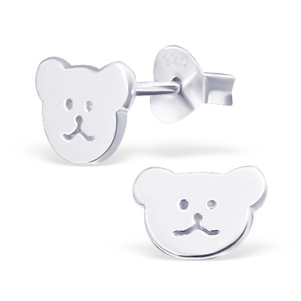 Children's Small Bear Real Sterling Silver Stud Earrings -