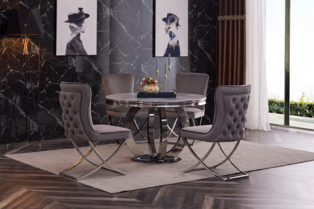 Stephano Grey Marble Top Round 130 Cm Diameter Dining Table With Polis Modernique