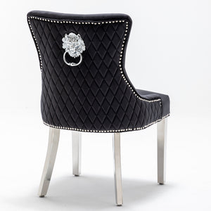 Open image in slideshow, NICOLE | 2 x Irresistible Velvet Chair| Lion Knockerback | Available in Black and Grey Velvet |