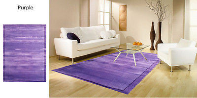 PLAIN Modern Contemporary Thick Quality Bordered Rugs Runners S -XL Round CHEAP