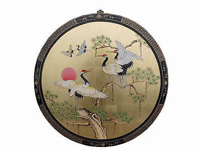 Hand Painted Crane Design Gold Leaf Lacquered Oriental Chinese wall picture-91cm