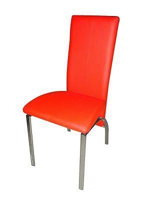 Faux Leather, Foam Padded Dining Chairs:Black, Brown,Cream,Red with Chrome Legs