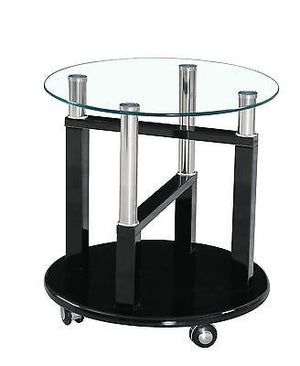 Open image in slideshow, Side/ End Table on Wheels | Available in Black, Brown, Cream, White, Red | High Gloss | Clear Glass |